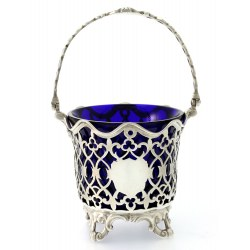 Victorian Silver Sugar Basket with Blue Glass Liner by Joseph & Albert Savory c.1848