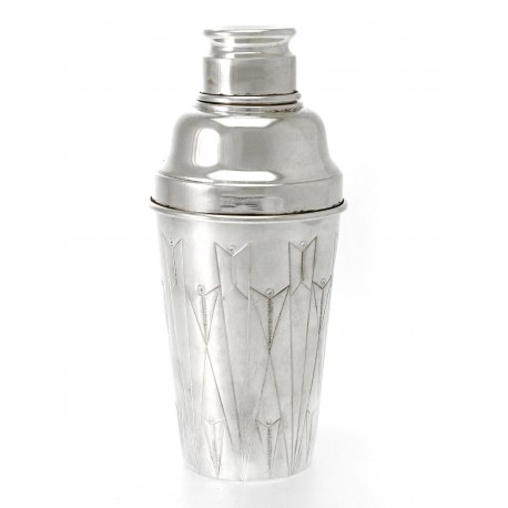 English Art Deco Style Silver Plate Cocktail Shaker Chased in a Deco Style c.1930