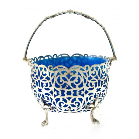 Victorian Silver Plated Sugar Basket with Blue Glass Liner c.1890