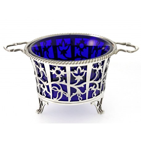 Silver Sugar Basket with Blue Glass Liner c.1932