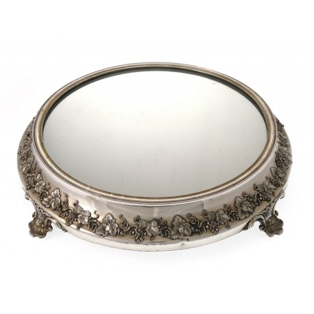 An Old Sheffield Plate Mirrored Cake Stand