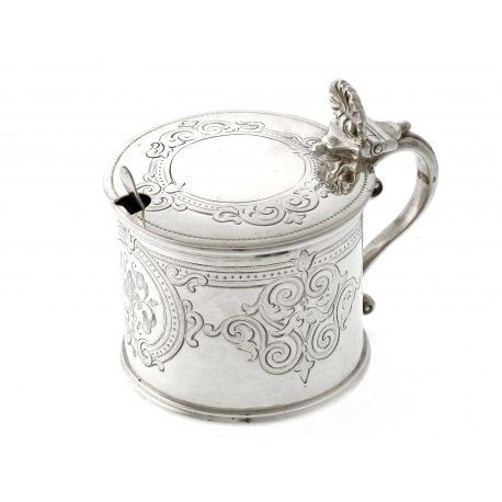 A Victorian Silver Drum Mustard Pot with Engraved Body c.1861