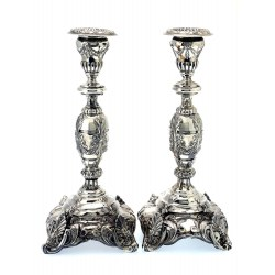 Pair of Antique Russian Silver Candle Sticks