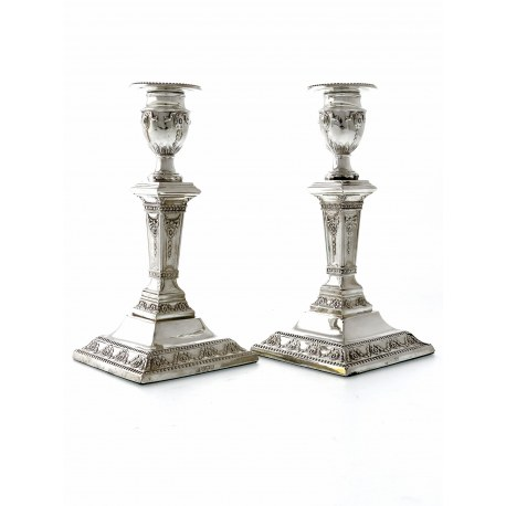 Pair of Edwardian Silver Candlesticks c.1908