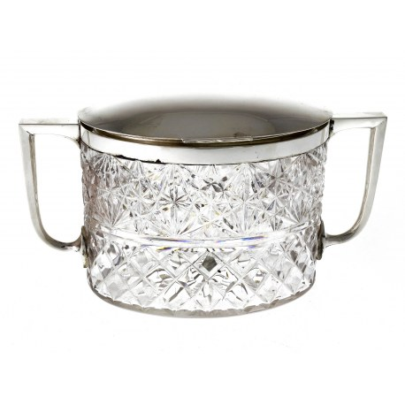 Quality Silver Plate & Cut Glass Biscuit Box. John Grinsell & Son c.1890