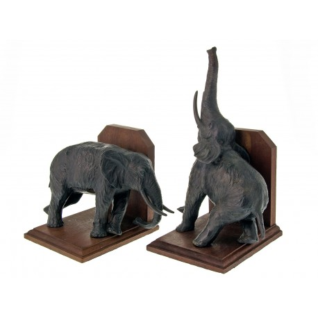 Pair of Standing Elephant Bronze Bookends