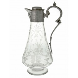 Antique Engraved Glass and Silver Plate Claret Jug