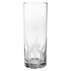 Set of Six Tall Hand Engraved Crystal Octopus Glasses