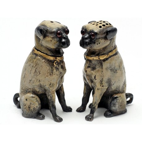 Pair of Painted Bronze Pug Dog Salt and Peppers