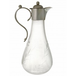 Antique Silver Plated Claret Jug with a Tapering Glass Body