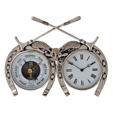 Antique Silver Plated Desk Top Fox and Horse Clock and Barometer