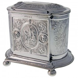 Decorative Victorian Silver Plate Biscuit Box