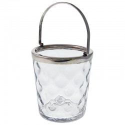 Plain Silver Plate and Glass Ice Pail
