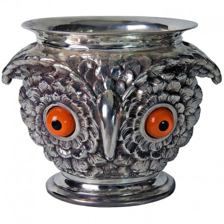 Victorian Style Silver Plate Owl Form Jardiniere or Ice Pail