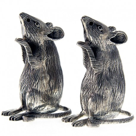 A Pair of Modern Sterling Silver Mouse Salt and Peppers