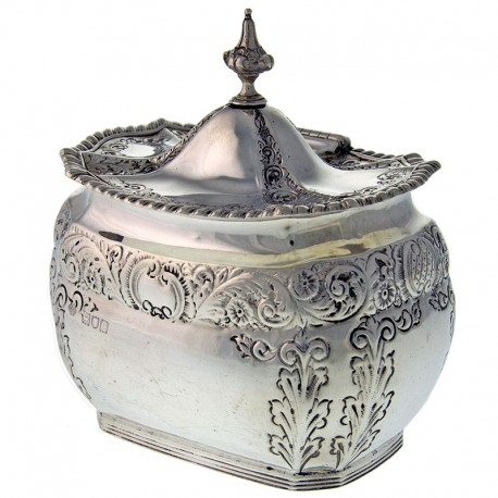 Late Victorian Solid Silver Tea Caddy 1898