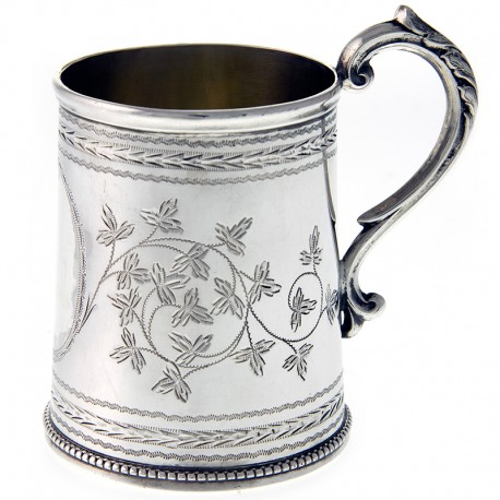 Victorian Silver Christening Mug engraved with Foliage. Date 1878
