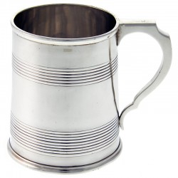 Victorian Silver Christening Mug with Applied Scroll Handle. Date 1890