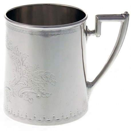 Edwardian Silver Christening Mug with Flowers and Scrolls