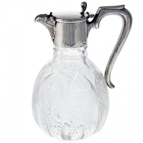 English Edwardian Antique Silver and Cut Glass Claret Jug