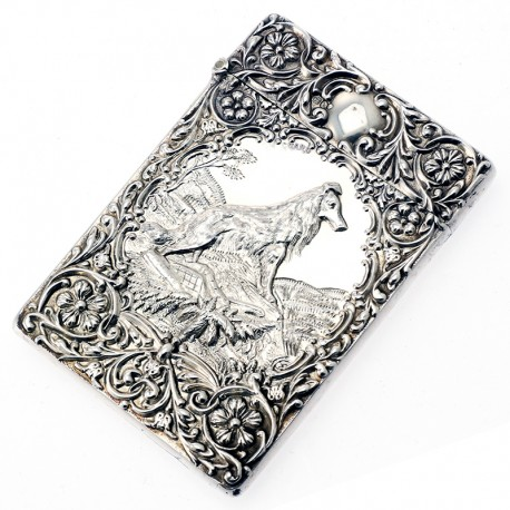 Antique Silver Visiting Card Case with Collie Dog