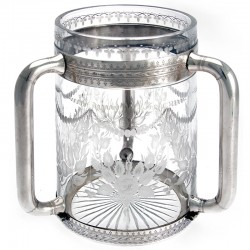 Exceptional Victorian Silver Plated and Engraved Glass Loving Cup