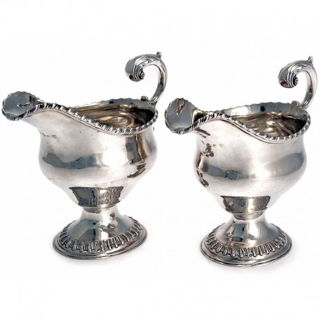 Pair of Antique Silver George III Oval Sauce Boats