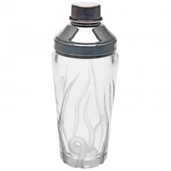 Silver Plate and Engraved Glass Octoptus Cocktail Shaker