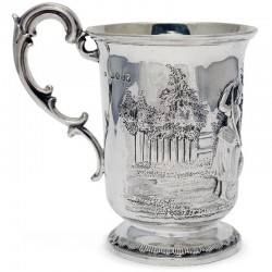 Victorian Silver Christening Mug Depicting a Child Playing wih a Dog