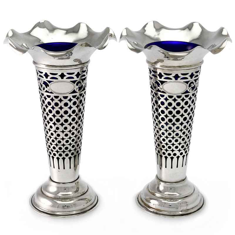 pair of antique silver vases with pierced body london 1903. Black Bedroom Furniture Sets. Home Design Ideas
