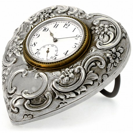 Antique Silver Heart Shape Free Standing Clock. 1897