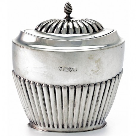 Half Fluted Chester Made Oval Silver Tea Caddy c.1918