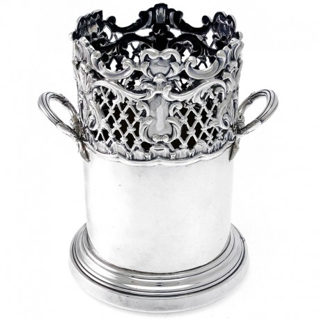 Decorative Antique Silver Bottle Stand c.1902