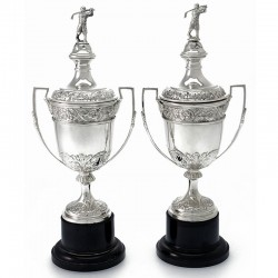 Pair of Silver Vase Shaped Golf Trophy Cups