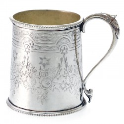 A Victorian Silver Plated Child's Mug in Cylindrical Form c.1890