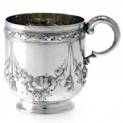 Silver Victorian Baluster Shaped Child's Mug Hand Chased with Flowers and Tassles