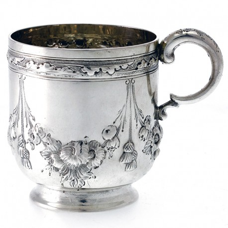A Victorian Silver Baluster Shaped Child's Mug Hand Chased with Flowers and Tassels