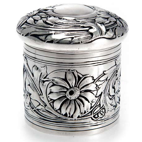 Edwardian Silver Dressing Table Box Embossed with Flowers and Foliage