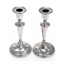 Pair of Elegant Silver Candle Sticks with Detachable Sconces
