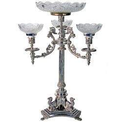 Antique Silver Plate Centrepiece Epergne with Camels and Cut Glass Bowls