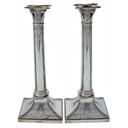 Pair of Antique Silver Edwardian Candle Sticks