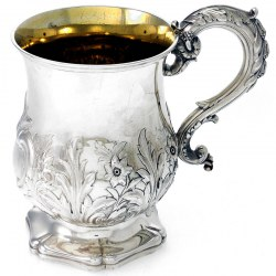 Antique Silver Gilt Lined Pint Mug with Acanthus Leaves and Flowers