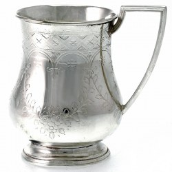 A charming Victorian hand engraved silver plated childs mug c.1880