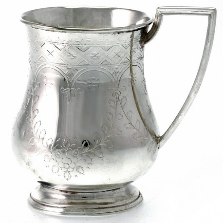 Victorian Hand Engraved Silver Plate Childs Mug by Cooper Brothers c.1880