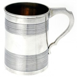 Antique Plain Silver Mug with Reeded Banding and Gilt Interior