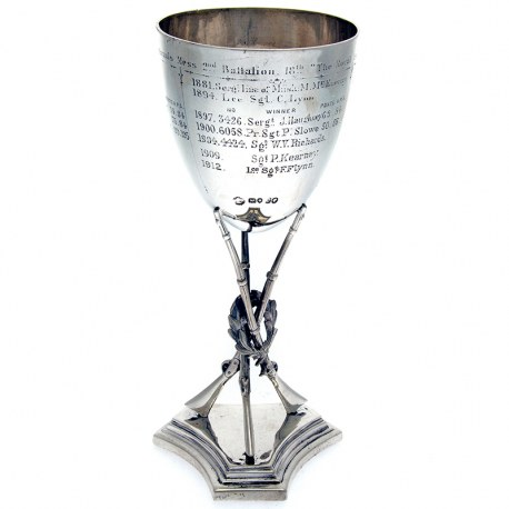 Handsome Victorian Silver Rifle and Wreath Goblet