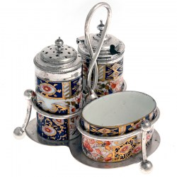Imari Style Porcelain and Silver Plate Cruet Set