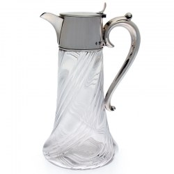 Late Victorian Silver Mounted Claret Jug with Scroll Handle and Swirl Glass Design