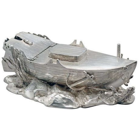 Rare Silver Plate Spoon Warmer in the Shape of a Boat