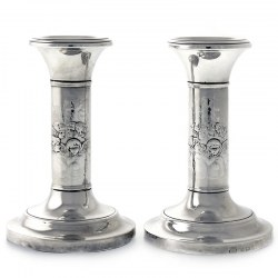 Pair of Silver Dwarf Candlesticks with Reynolds Angels